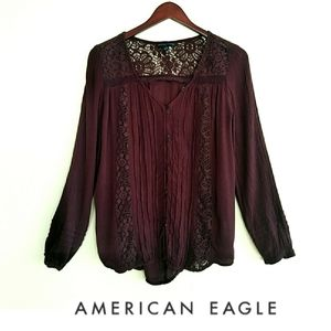 AEO Boho Button Down Long Sleeve Lace Inset Blouse